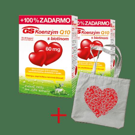 GS Koenzým Q10, 60mg, 2 x 60 kapsúl + darček - plátená taška