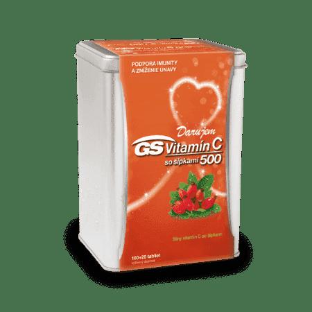 GS Vitamín C 500 so šípkami, 100 + 20 tabliet ( 120 ks ) - darček 2019