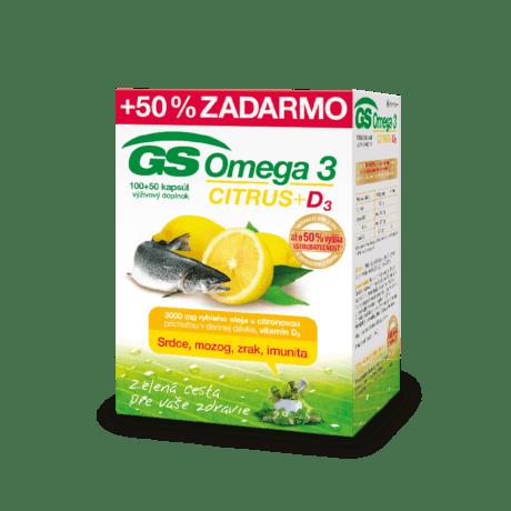 GS Omega 3 CITRUS + D3, 100 + 50 kapsúl