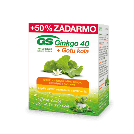 GS Ginkgo 40 + Gotu kola, 40 + 20 tabliet