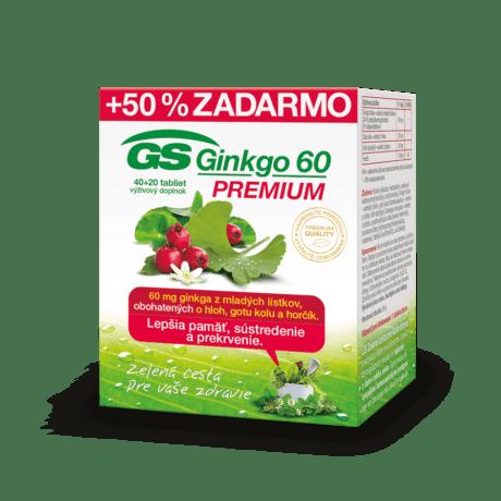 GS Ginkgo 60 PREMIUM, 40 + 20 tabliet