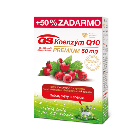 GS Koenzým Q10 60mg PREMIUM, 30 + 15 kapsúl