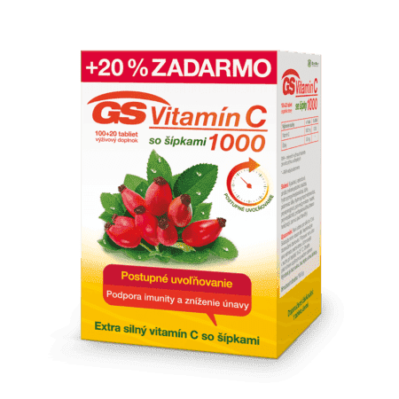 GS Vitamín C 1000 so šípkami, 100 + 20 tabliet
