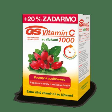 GS Vitamín C 1000 so šípkami, 100 + 20 tabliet
