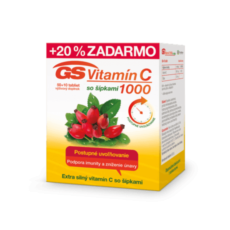 GS Vitamín C 1000 so šípkami, 50 + 10 tabliet