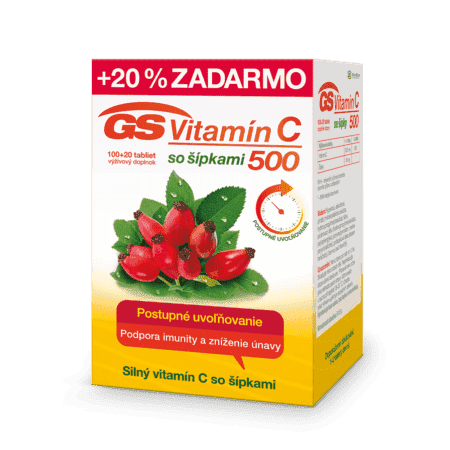 GS Vitamín C 500 so šípkami, 100 + 20 tabliet