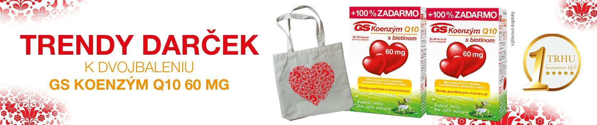 GS Koenzým Q10, 60mg, 2 x 60 kapsúl + darček taška