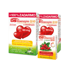 GS Koenzým Q10, 60mg, 2 x 60 kapsúl + GS Vitamín C 500 so šípkami, 30 tabliet