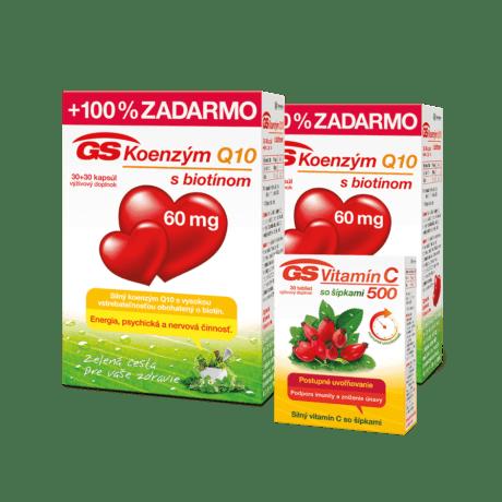 GS Koenzým Q10, 60mg, 2 x 60 kapsúl + GS Vitamín C 500 so šípkami, 30 tabliet