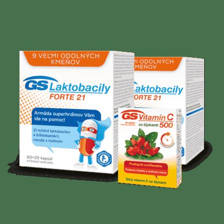 GS Laktobacily FORTE 21, 2 x 80 kapsúl + GS Vitamín C 500 so šípkami, 30 tabliet
