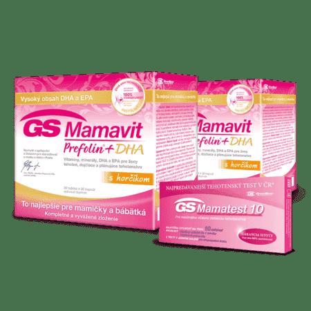GS Mamavit Prefolin + DHA s horčíkom, 2 x 30 tabliet + 2 x 30 kapsúl + GS Mamatest 10, tehotenský test, 2ks