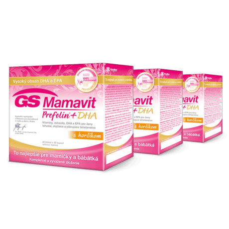 GS Mamavit Prefolin + DHA s horčíkom, 3 x 30 tabliet + 3 x 30 kapsúl