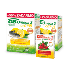 GS Omega 3 CITRUS, 2 x 150 kapsúl + GS Vitamín C 500 so šípkami, 30 tabliet