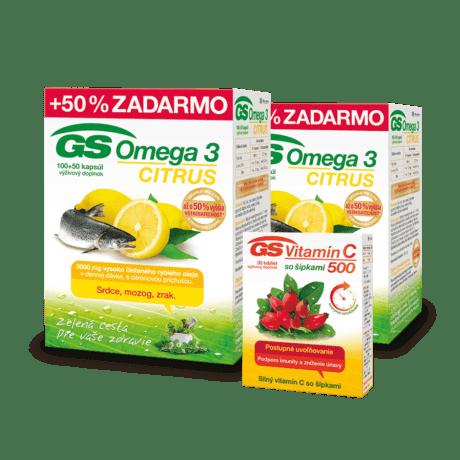 GS Omega 3 CITRUS, 2 x 150 kapsúl + GS Vitamín C 500 so šípkami, 30 tabliet