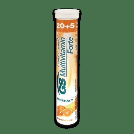 GS Multivitamín s minerálmi šumivý FORTE pomaranč, 20 + 5 tabliet