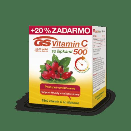 GS Vitamín C 500 so šípkami, 50 + 10 tabliet