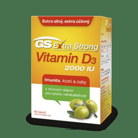 GS Extra Strong Vitamín D3 2000 IU, 90 kapsúl