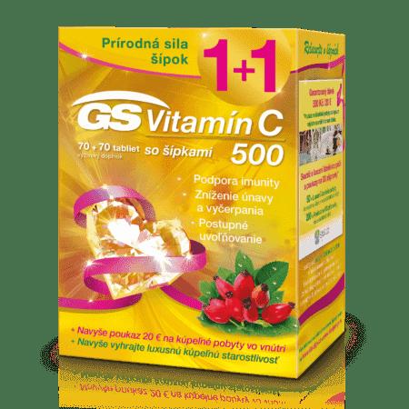GS Vitamin C 500 + šípky, 70+70 tabliet (140 ks) darček 2018