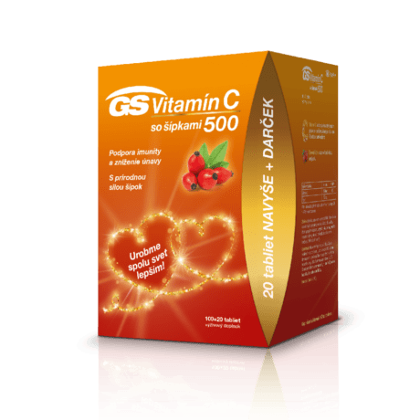 GS Vitamín C 500 so šípkami, 100 + 20 tabliet - darček 2020