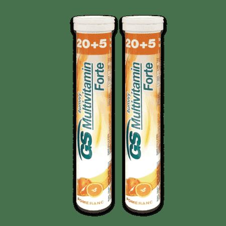 GS Multivitamín šumivý FORTE pomaranč, 2 x 25 tabliet