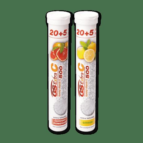 GS Extra C 500 šumivý - citrón, 25 tabliet + GS Extra C 500 šumivý - červený pomaranč, 25 tabliet