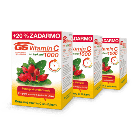 GS Vitamín C 1000 so šípkami, 3 x 120 tabliet