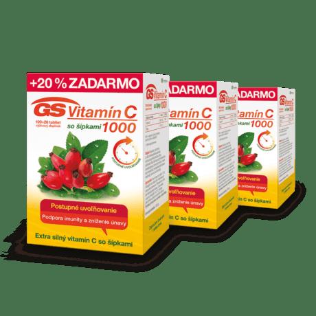GS Vitamín C 1000 so šípkami, 3 x 120 tabliet